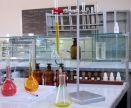 School chemistry lab and desk.