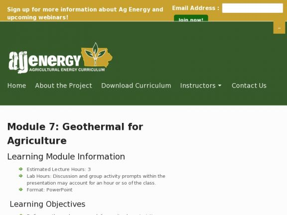 Module 7: Geothermal for Agriculture icon