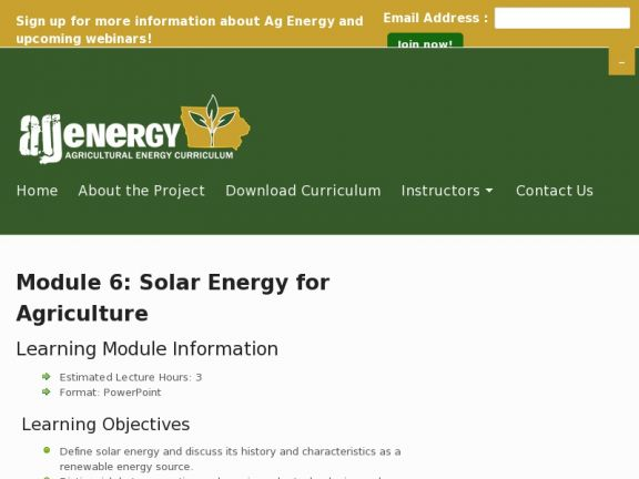 Module 6: Solar Energy for Agriculture icon