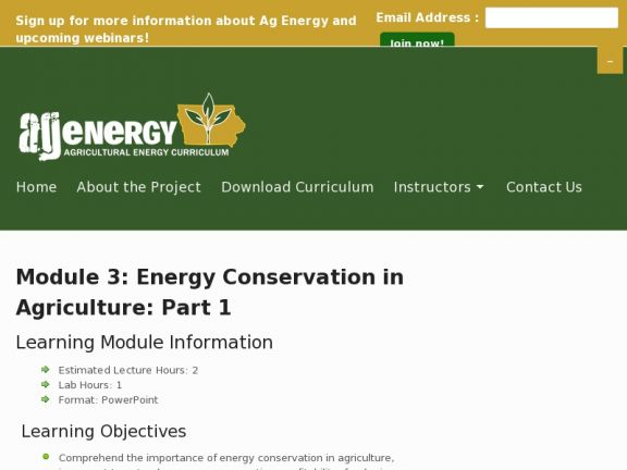 Module 3: Energy Conservation in Agriculture: Part 1 icon
