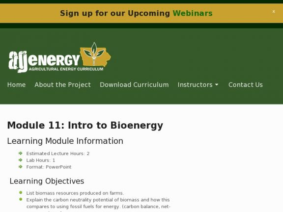 Module 11: Intro to Bioenergy icon