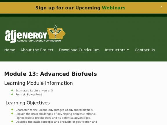 """Module 13: Advanced Biofuels"" icon"