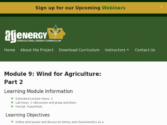 Module 9: Wind for Agriculture: Part 2 icon