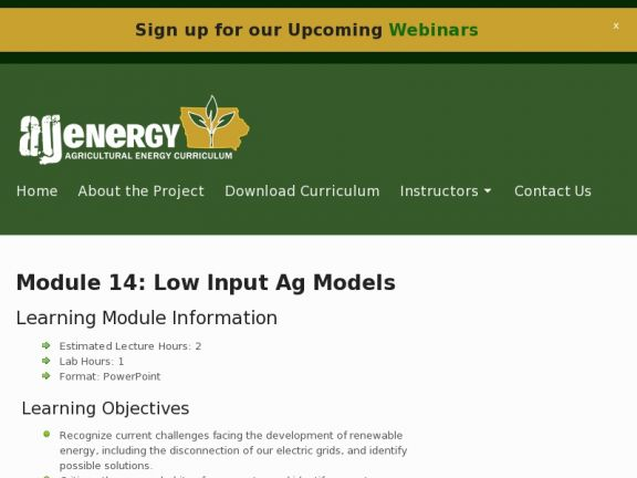 """Module 14: Low Input Ag Models"" icon"