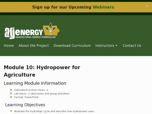 Module 10: Hydropower for Agriculture icon