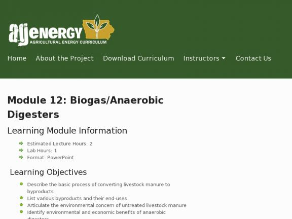 Module 12: Biogas/Anaerobic Digesters icon