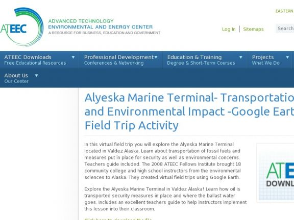 Alyeska Marine Terminal- Transportation Security and Environmental Impact -Google Earth Virtual Field Trip Activity icon