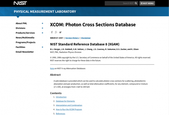 Applied Math and Science Education Repository - NIST XCOM